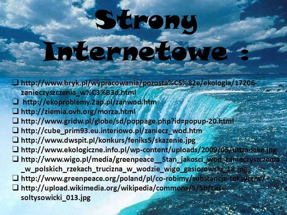 Strony Internetowe : http://www.bryk.pl/wypracowania/pozosta%C5%82e/ekologia/17206- zanieczyszczenia_w%C3%B3d.html http://ekoproblemy.2ap.pl/zanwod.htm http://ziemia.ovh.org/morza.html http://www.gridw.pl/globe/sd/poppage.php?id=popup-20.html http://cube_prim93.eu.interiowo.pl/zaniecz_wod.htm http://www.dwspit.pl/konkurs/feniks5/skazenie.jpg http://www.ekologiczne.info.pl/wp-content/uploads/2009/05/uttra-lake.jpg http://www.wigo.pl/media/greenpeace__Stan_jakosci_wod_zanieczyszczenia _w_polskich_rzekach_trucizna_w_wodzie_wigo_gasiorowski_18.jpg http://www.greenpeace.org/poland/pl/co-robimy/substancje-toksyczne/ http://upload.wikimedia.org/wikipedia/commons/5/5b/Las- soltysowicki_013.jpg