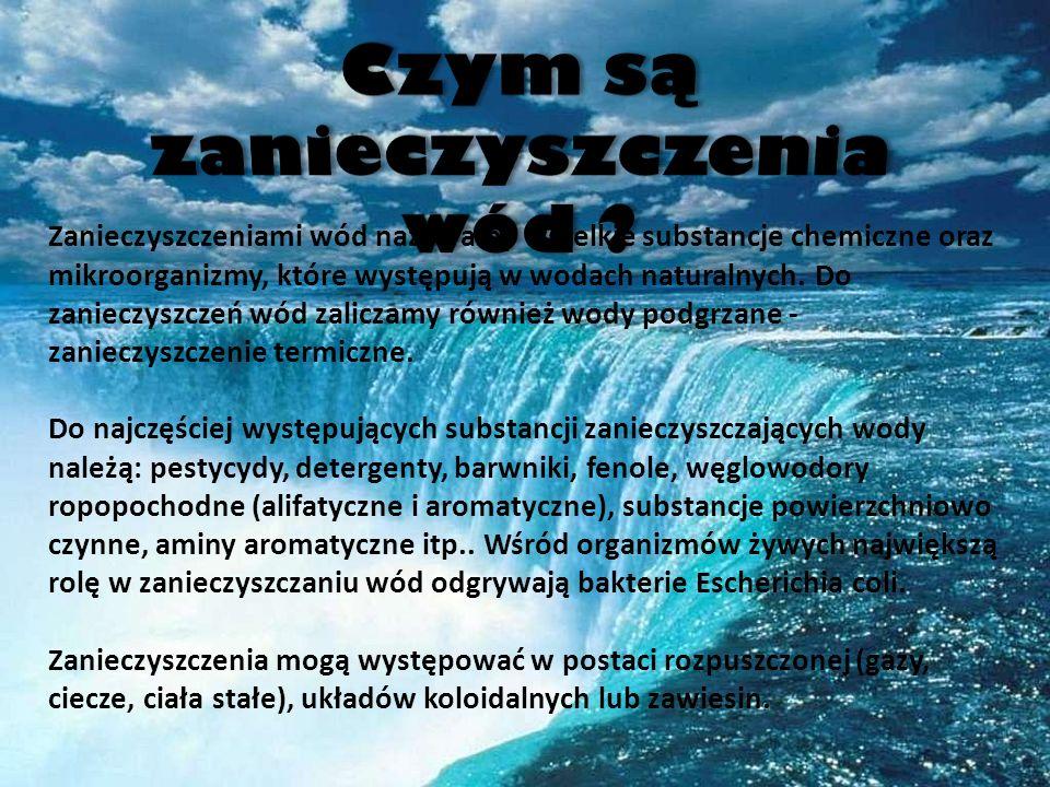 Zanieczyszczeniami wód nazywamy wszelkie substancje chemiczne oraz mikroorganizmy, które występują w wodach naturalnych. Do zanieczyszczeń wód zalicza