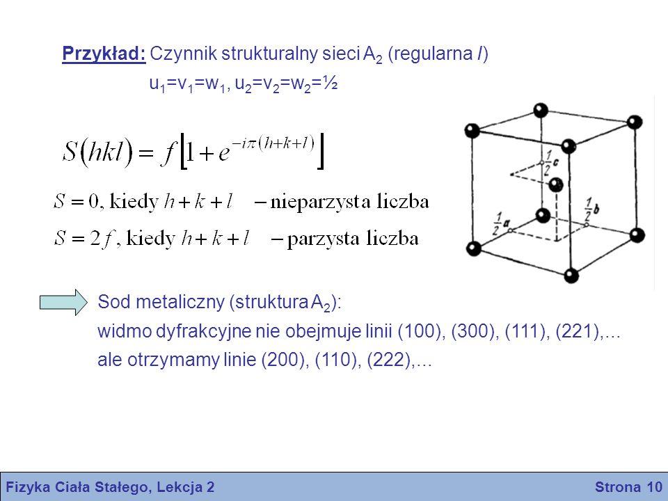 Przykład: Czynnik strukturalny sieci A 2 (regularna I) u 1 =v 1 =w 1, u 2 =v 2 =w 2 =½ Sod metaliczny (struktura A 2 ): widmo dyfrakcyjne nie obejmuje