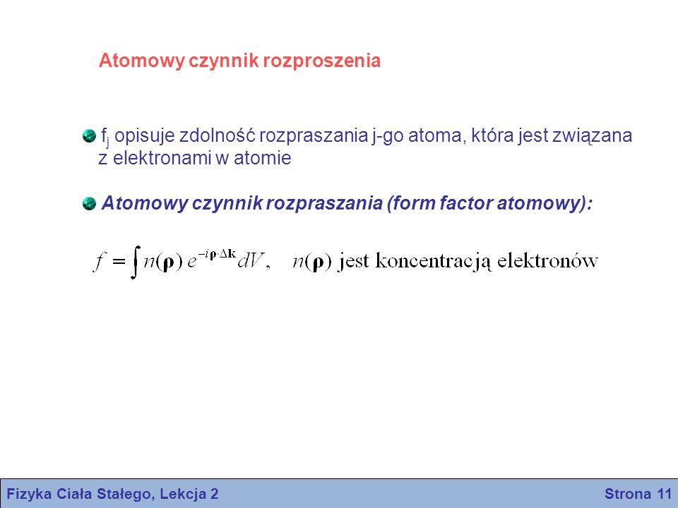 Atomowy czynnik rozproszenia f j opisuje zdolność rozpraszania j-go atoma, która jest związana z elektronami w atomie Atomowy czynnik rozpraszania (fo