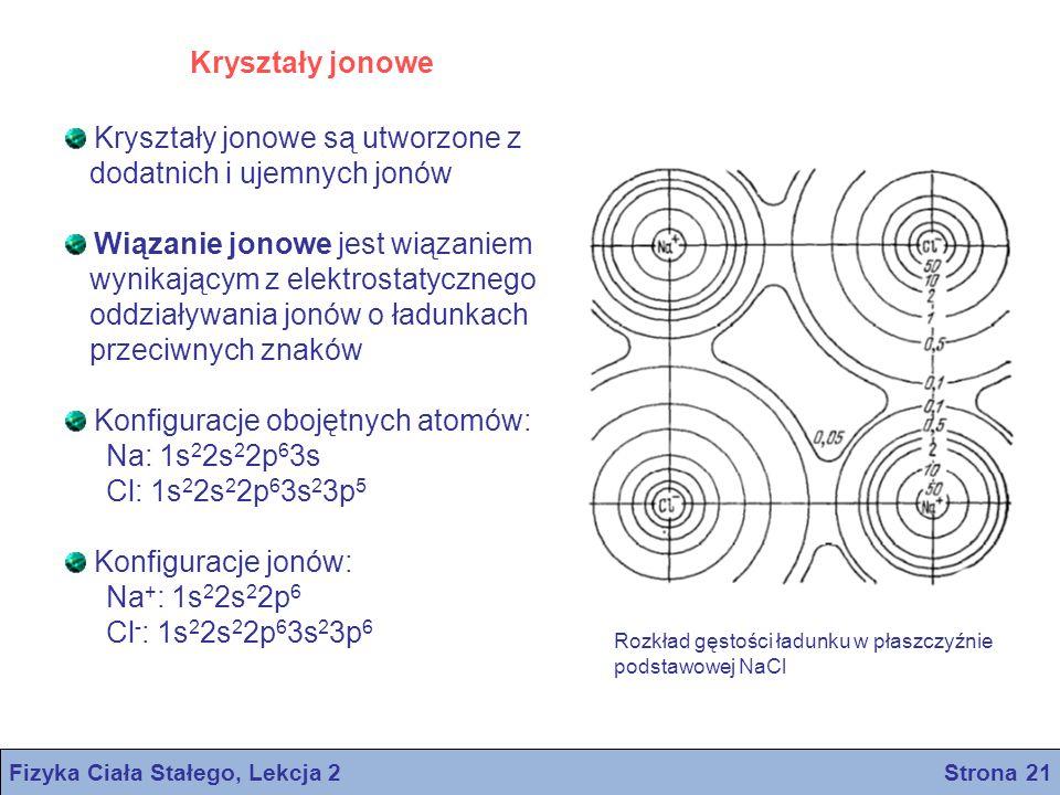 Kryształy jonowe Fizyka Ciała Stałego, Lekcja 2 Strona 21 Kryształy jonowe są utworzone z dodatnich i ujemnych jonów Wiązanie jonowe jest wiązaniem wy