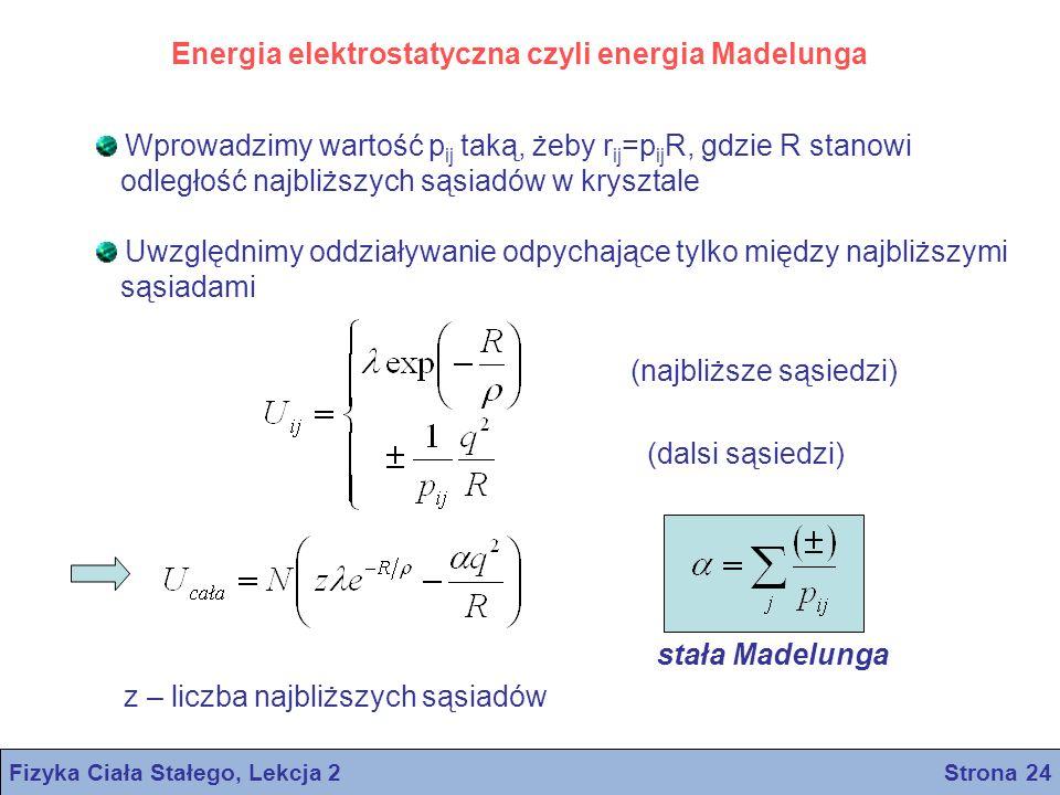 Fizyka Ciała Stałego, Lekcja 2 Strona 24 Energia elektrostatyczna czyli energia Madelunga Wprowadzimy wartość p ij taką, żeby r ij =p ij R, gdzie R st