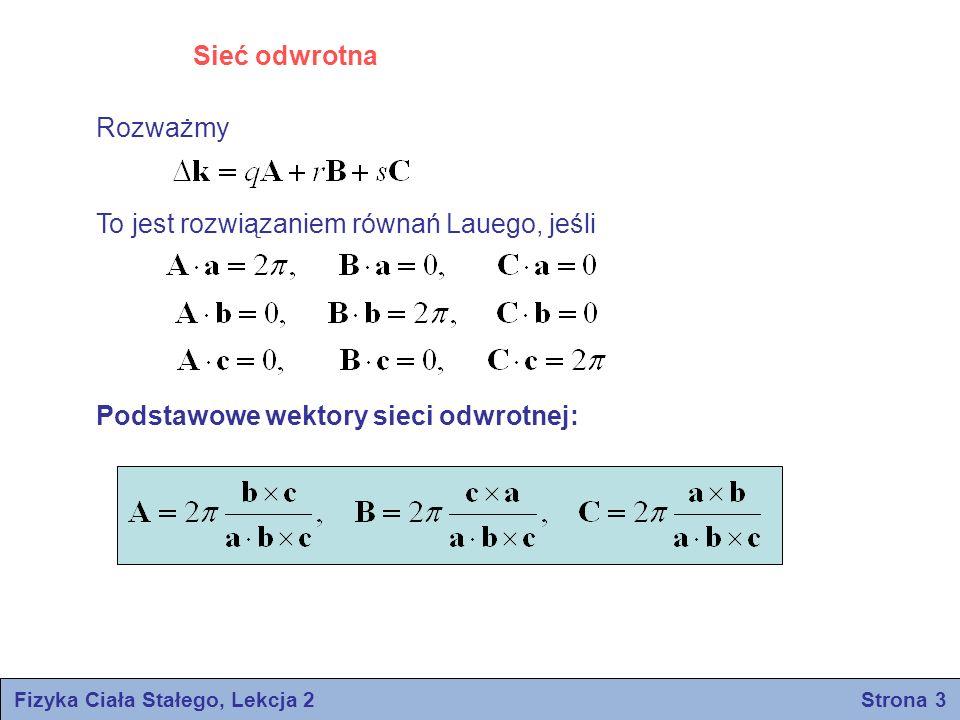 Węzły sieci krystalicznej: Węzły sieci odwrotnej: Właściwość G: m,n,p – liczby całkowite h,k,l – liczby całkowite Fizyka Ciała Stałego, Lekcja 2 Strona 4 Równania Lauego są spełnione, gdy Δk jest równe wektorowi sieci odwrotnej: