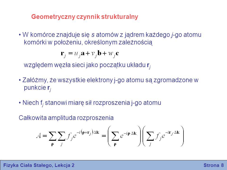 Fizyka Ciała Stałego, Lekcja 2 Strona 8 W komórce znajduje się s atomów z jądrem każdego j-go atomu komórki w położeniu, określonym zależnością względ