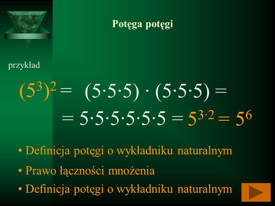 Potęga potęgi przykład (5 3 ) 2 = Definicja potęgi o wykładniku naturalnym (55·5) (555) = Prawo łączności mnożenia = 555555 = Definicja potęgi o wykła