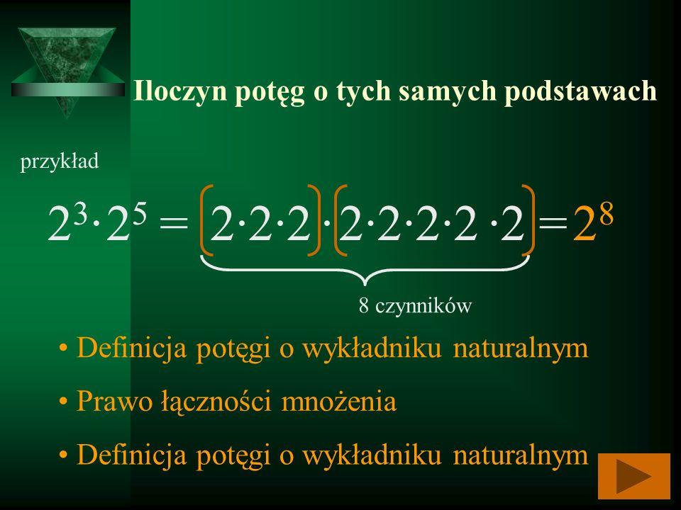 Iloczyn potęg o tych samych podstawach 2323 8 czynników 2222828 2525 = 2222 2 = przykład Definicja potęgi o wykładniku naturalnym Prawo łączności mnoż