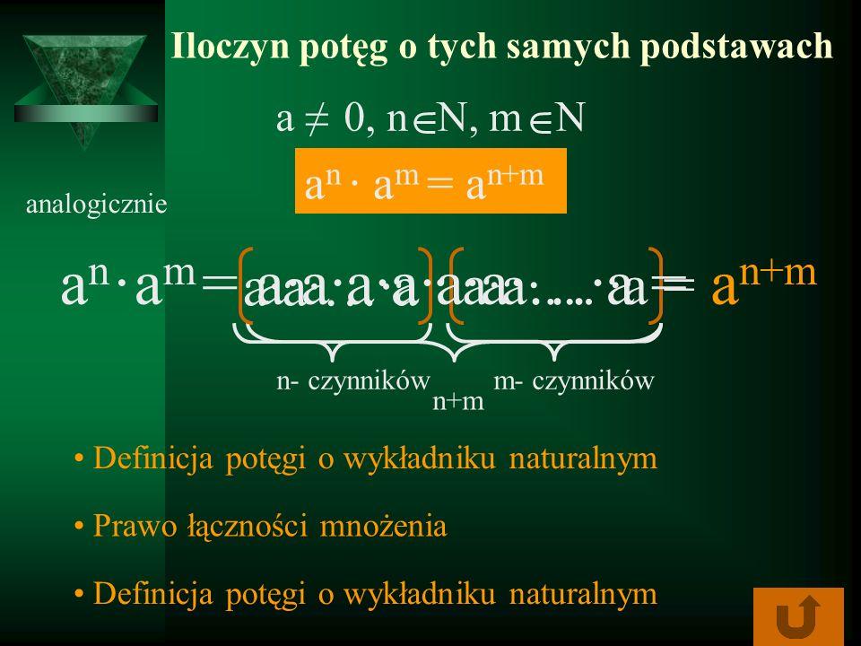 Iloczyn potęg o tych samych podstawach a n a m = a n+m anan n+m aa…a a n+m amam = aa… a = analogicznie Definicja potęgi o wykładniku naturalnym Prawo