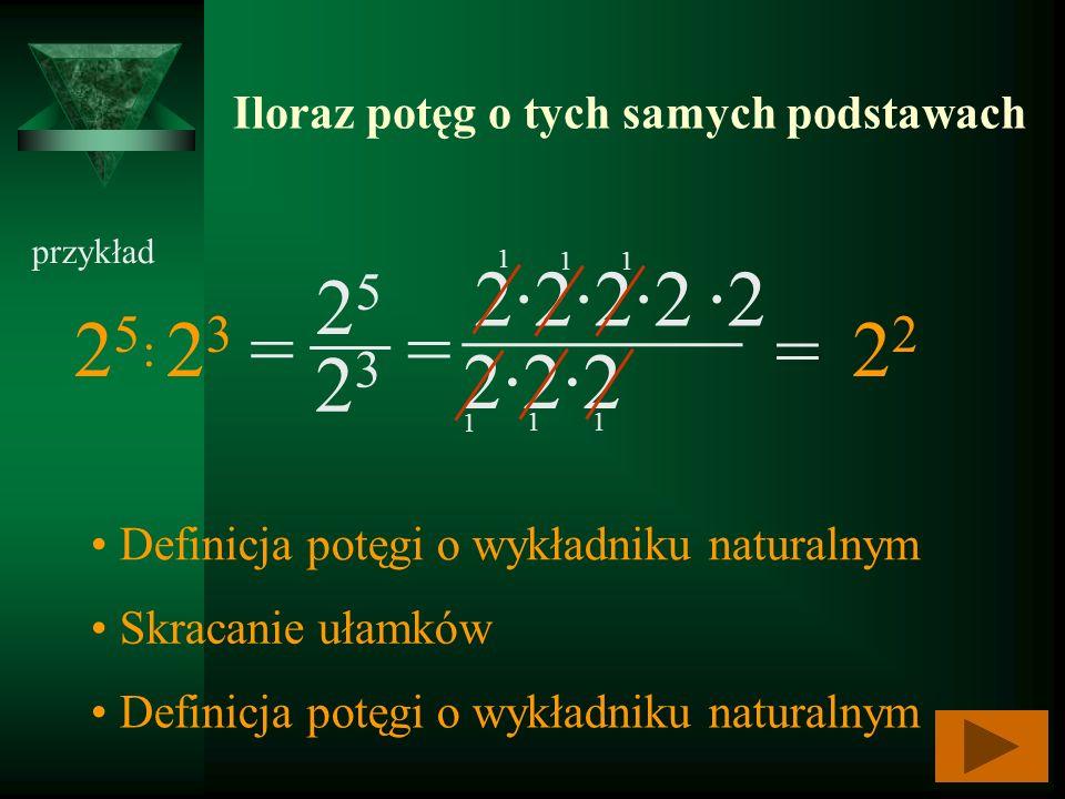 Iloraz potęg o tych samych podstawach przykład 2525 222 2 2323 = 2222 2 _______ Definicja potęgi o wykładniku naturalnym Skracanie ułamków Definicja p