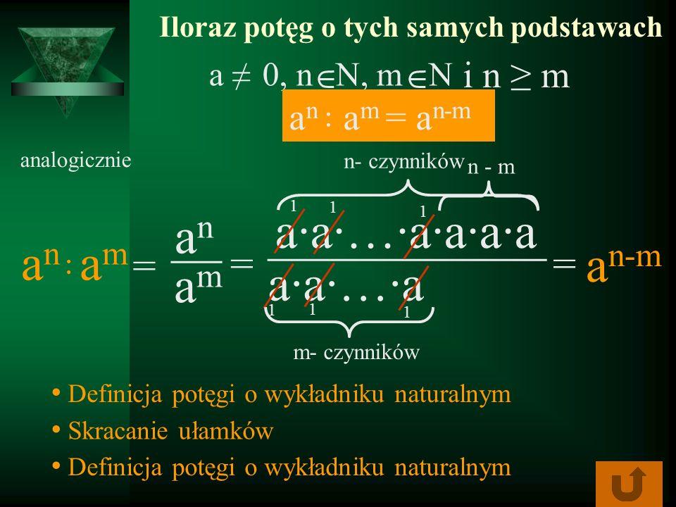 ___________ aa…aaaa Iloraz potęg o tych samych podstawach analogicznie anan aa…a a n-m amam = Definicja potęgi o wykładniku naturalnym Skracanie ułamk