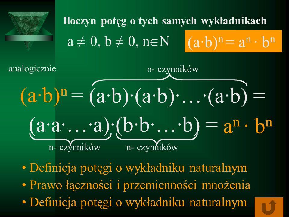 a 0, b 0, n N Iloczyn potęg o tych samych wykładnikach (ab) n = analogicznie (ab)(ab)…(ab) = Definicja potęgi o wykładniku naturalnym (aa…a)(bb…b) = P