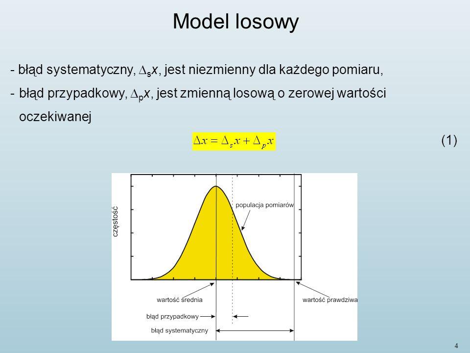 15 Model losowy W praktyce laboratoryjnej będziemy stosować następujące zależności: -odchylenie standardowe poszczególnego wyniku pomiaru (Przewodnik, 4.2.2) : - odchylenie standardowe średniej arytmetycznej (Przewodnik, 4.2.3):