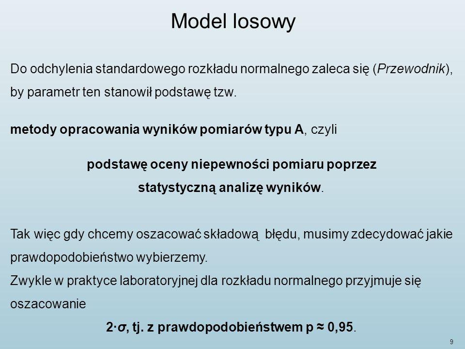 9 Model losowy Do odchylenia standardowego rozkładu normalnego zaleca się (Przewodnik), by parametr ten stanowił podstawę tzw.