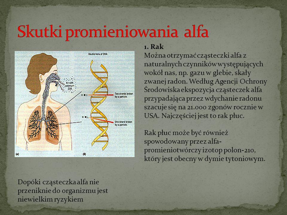 Dopóki cząsteczka alfa nie przeniknie do organizmu jest niewielkim ryzykiem 1. Rak Można otrzymać cząsteczki alfa z naturalnych czynników występującyc