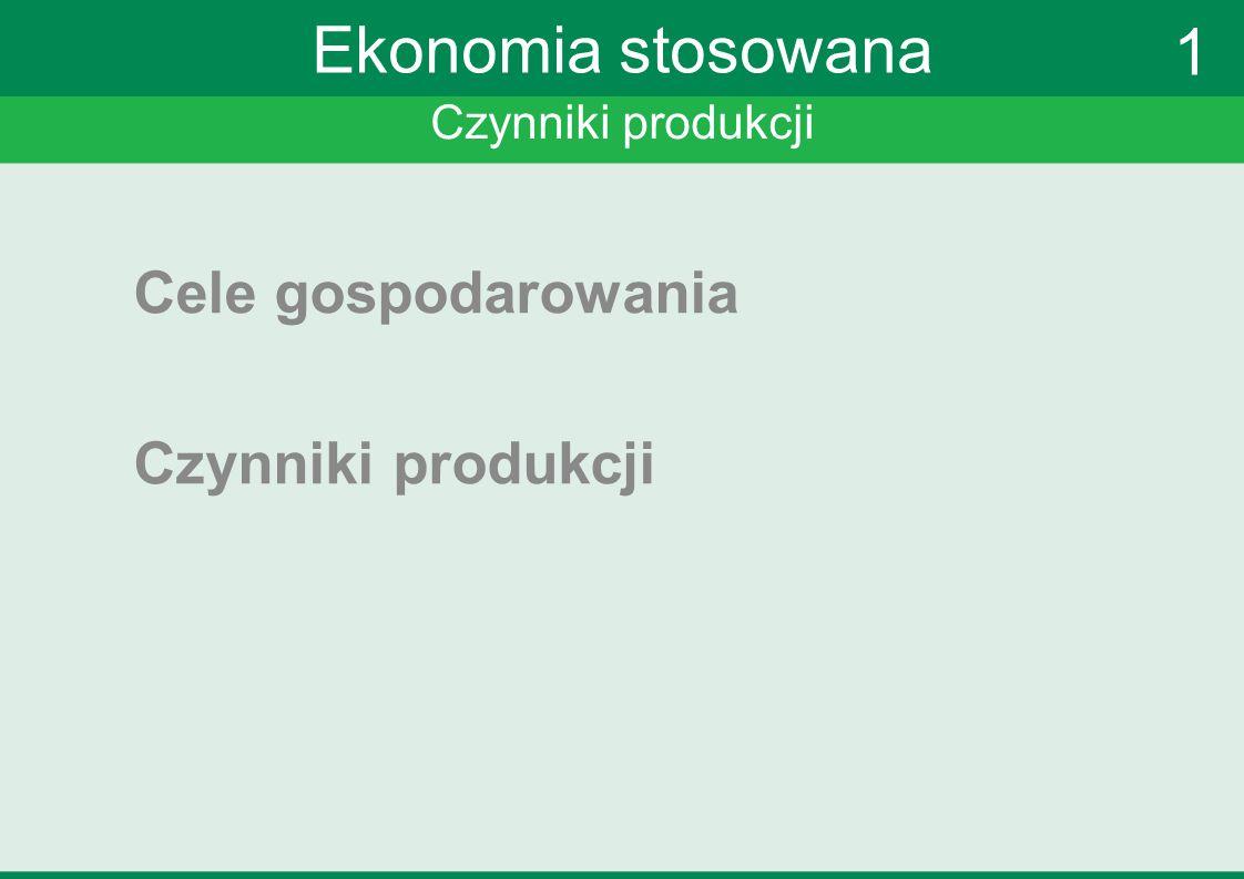 Czynniki produkcji Ekonomia stosowana Cele gospodarowania Czynniki produkcji 1