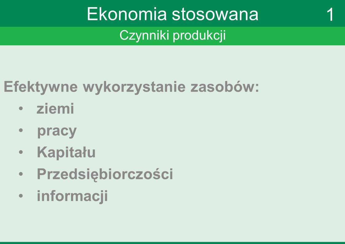 Czynniki produkcji Ekonomia stosowana Efektywne wykorzystanie zasobów: ziemi pracy Kapitału Przedsiębiorczości informacji 1