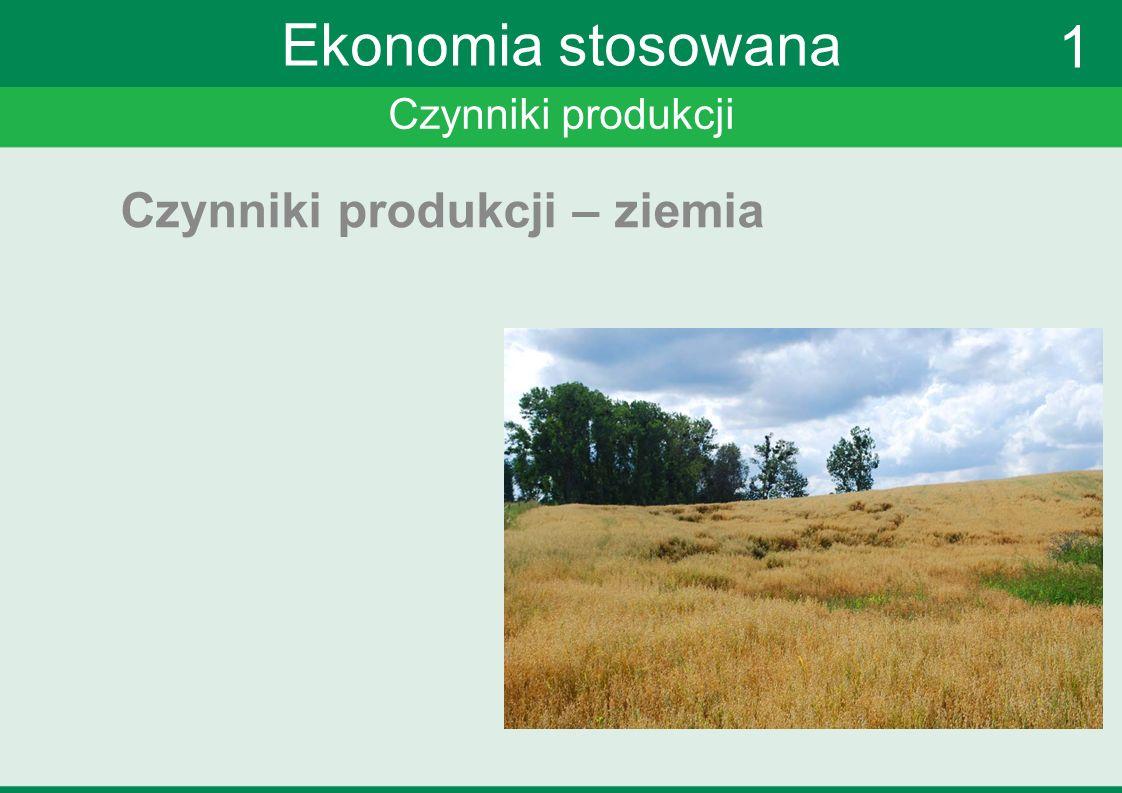 Czynniki produkcji Ekonomia stosowana Czynniki produkcji – ziemia 1