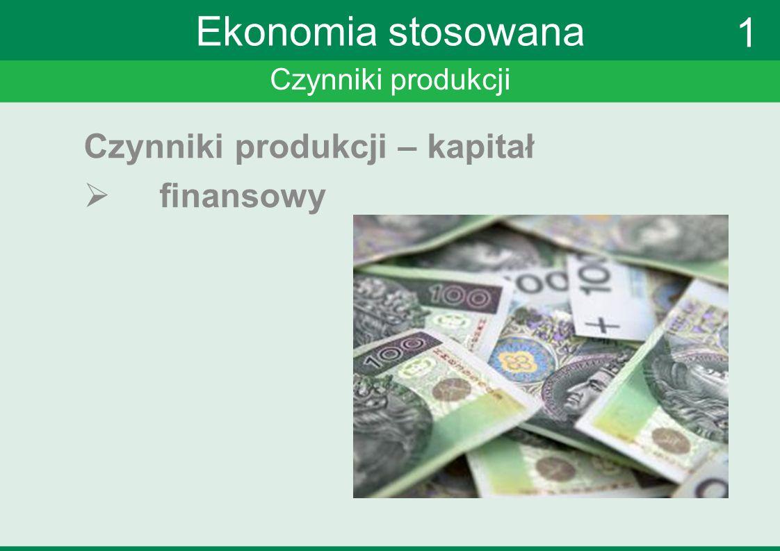 Czynniki produkcji Ekonomia stosowana Czynniki produkcji – kapitał finansowy 1
