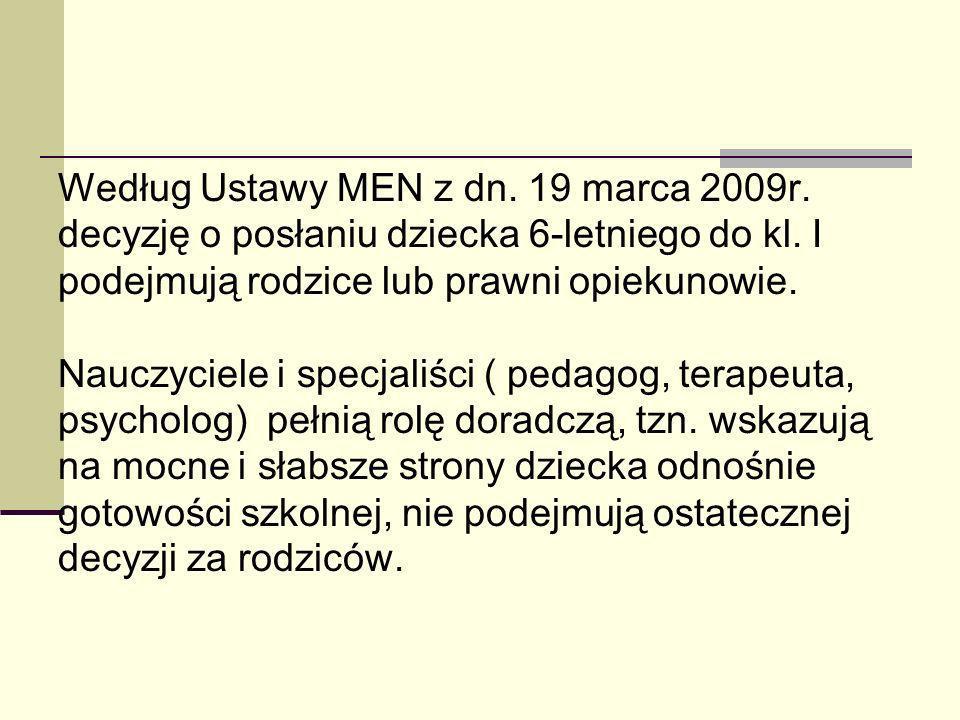 Według Ustawy MEN z dn.19 marca 2009r. decyzję o posłaniu dziecka 6-letniego do kl.