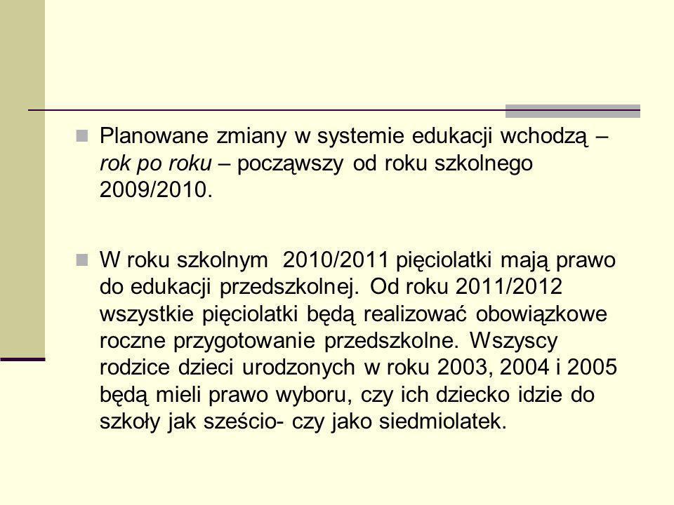 Planowane zmiany w systemie edukacji wchodzą – rok po roku – począwszy od roku szkolnego 2009/2010.