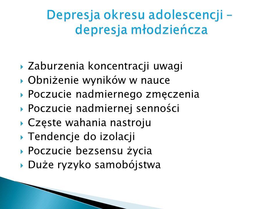 Zaburzenia koncentracji uwagi Obniżenie wyników w nauce Poczucie nadmiernego zmęczenia Poczucie nadmiernej senności Częste wahania nastroju Tendencje
