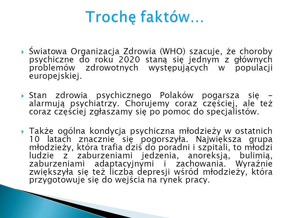 Światowa Organizacja Zdrowia (WHO) szacuje, że choroby psychiczne do roku 2020 staną się jednym z głównych problemów zdrowotnych występujących w popul