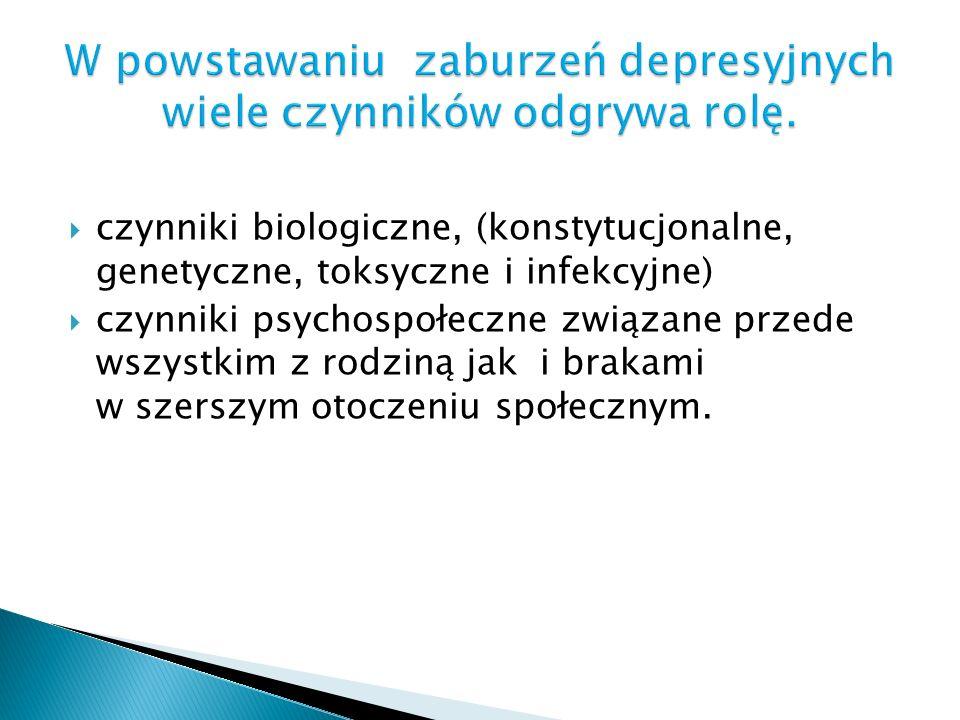 czynniki biologiczne, (konstytucjonalne, genetyczne, toksyczne i infekcyjne) czynniki psychospołeczne związane przede wszystkim z rodziną jak i brakam