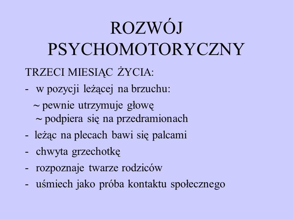 ROZWÓJ PSYCHOMOTORYCZNY TRZECI MIESIĄC ŻYCIA: -w pozycji leżącej na brzuchu: ~ pewnie utrzymuje głowę ~ podpiera się na przedramionach - leżąc na plec