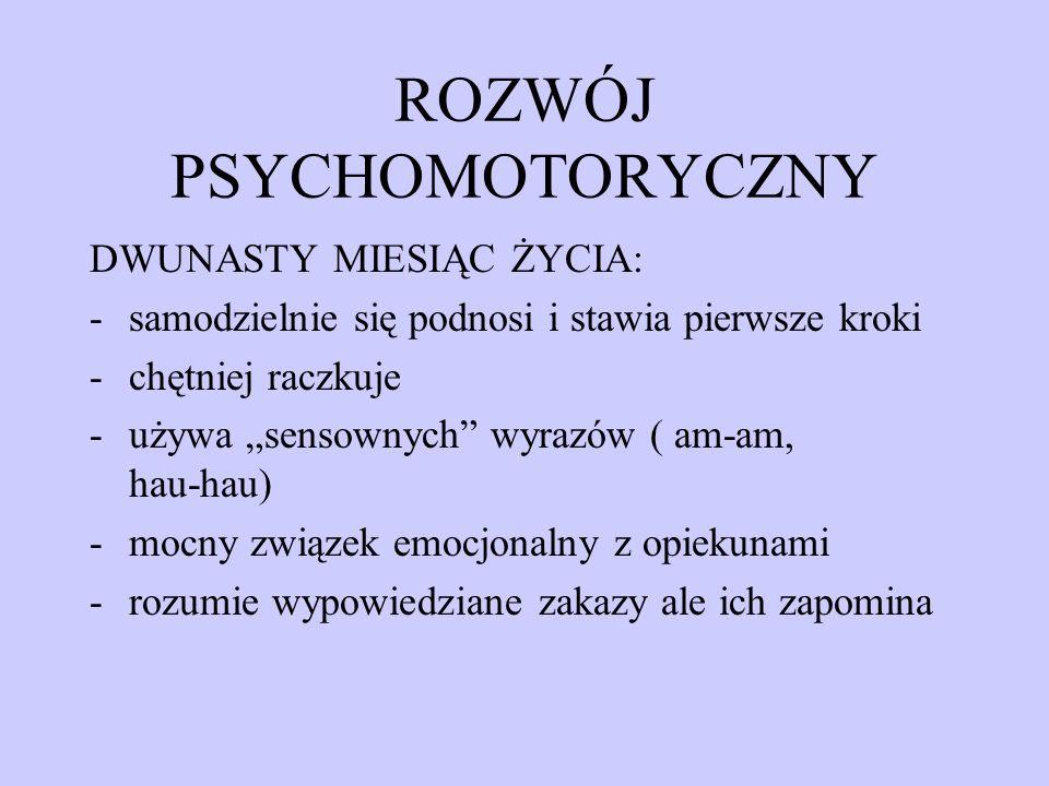ROZWÓJ PSYCHOMOTORYCZNY DWUNASTY MIESIĄC ŻYCIA: -samodzielnie się podnosi i stawia pierwsze kroki -chętniej raczkuje -używa sensownych wyrazów ( am-am
