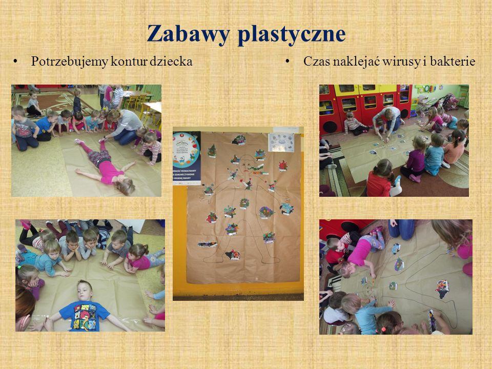 Zabawy plastyczne Potrzebujemy kontur dziecka Czas naklejać wirusy i bakterie