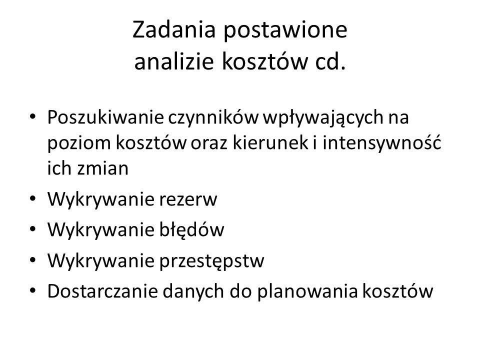 Zadania postawione analizie kosztów cd.