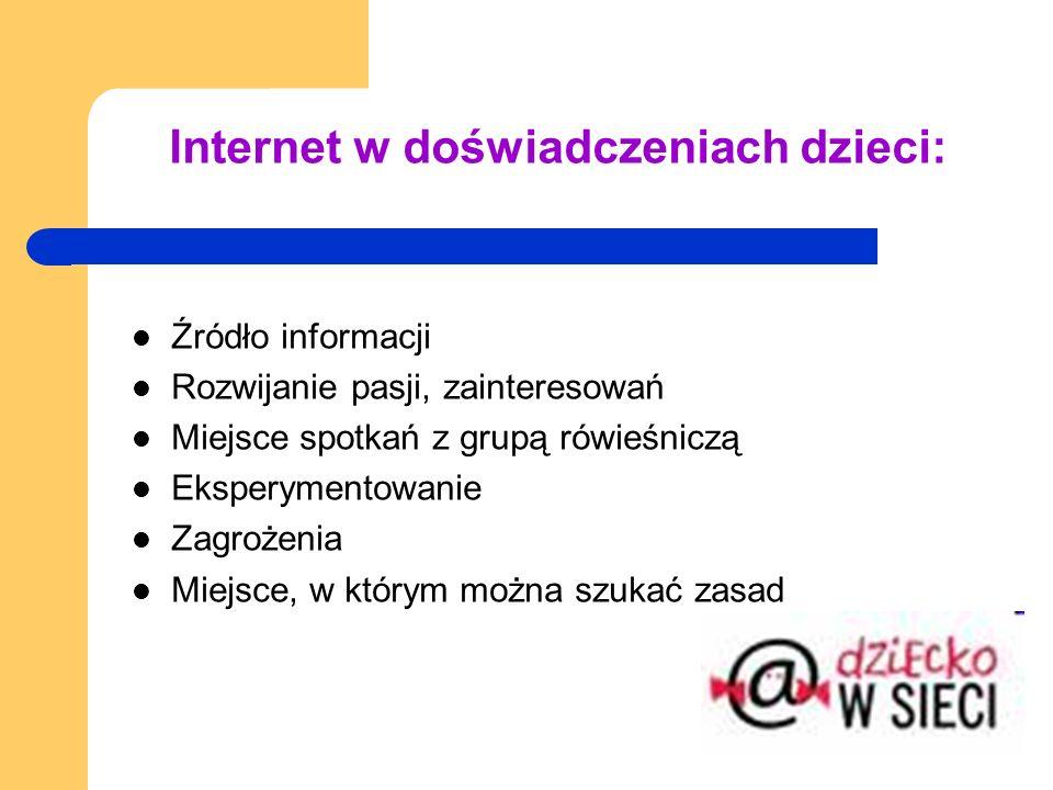 Internet w doświadczeniach dzieci: Źródło informacji Rozwijanie pasji, zainteresowań Miejsce spotkań z grupą rówieśniczą Eksperymentowanie Zagrożenia