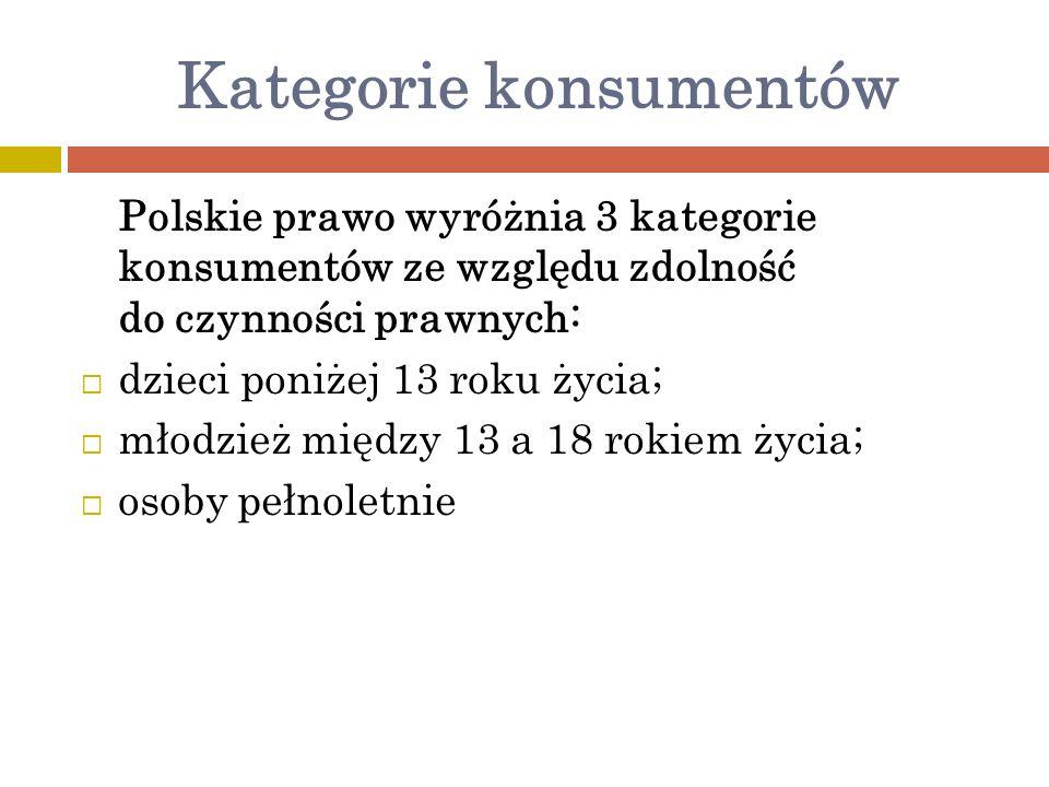 Kategorie konsumentów Polskie prawo wyróżnia 3 kategorie konsumentów ze względu zdolność do czynności prawnych: dzieci poniżej 13 roku życia; młodzież między 13 a 18 rokiem życia; osoby pełnoletnie