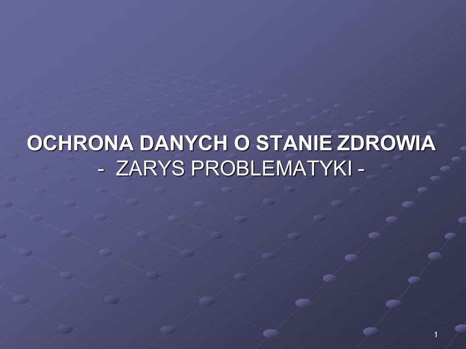 2 Konstytucja Rzeczpospolitej Polskiej z dnia 2 kwietnia 1997 roku Ustawa z dnia 29 sierpnia 1997 roku o ochronie danych osobowych Ustawa z dnia 5 grudnia 1996 r.