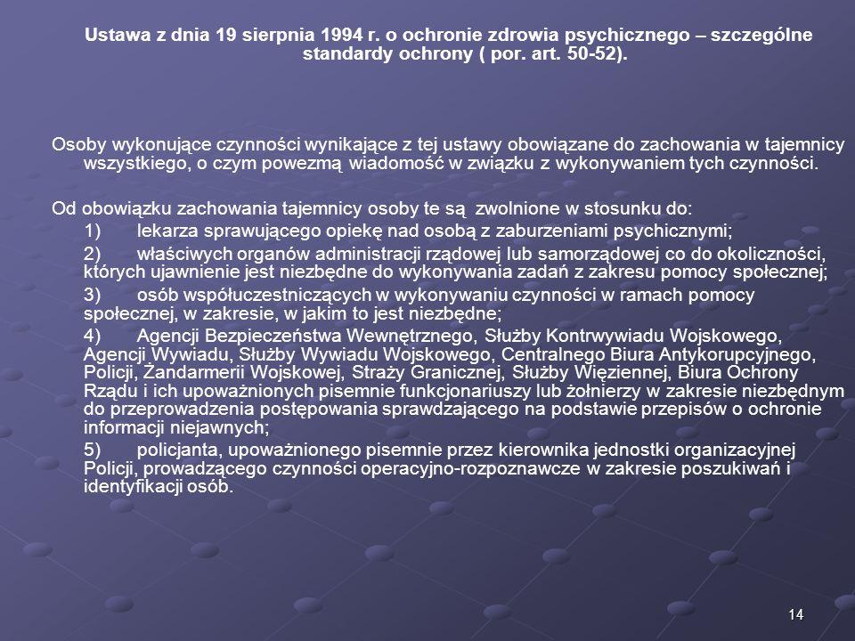 14 Ustawa z dnia 19 sierpnia 1994 r. o ochronie zdrowia psychicznego – szczególne standardy ochrony ( por. art. 50-52). Osoby wykonujące czynności wyn