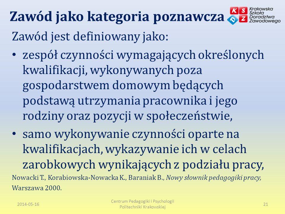 Zawód jako kategoria poznawcza Zawód jest definiowany jako: zespół czynności wymagających określonych kwalifikacji, wykonywanych poza gospodarstwem domowym będących podstawą utrzymania pracownika i jego rodziny oraz pozycji w społeczeństwie, samo wykonywanie czynności oparte na kwalifikacjach, wykazywanie ich w celach zarobkowych wynikających z podziału pracy, Nowacki T., Korabiowska-Nowacka K., Baraniak B., Nowy słownik pedagogiki pracy, Warszawa 2000.