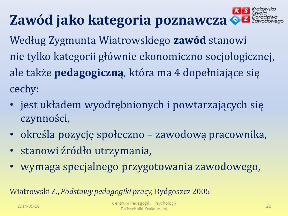 Zawód jako kategoria poznawcza Według Zygmunta Wiatrowskiego zawód stanowi nie tylko kategorii głównie ekonomiczno socjologicznej, ale także pedagogiczną, która ma 4 dopełniające się cechy: jest układem wyodrębnionych i powtarzających się czynności, określa pozycję społeczno – zawodową pracownika, stanowi źródło utrzymania, wymaga specjalnego przygotowania zawodowego, Wiatrowski Z., Podstawy pedagogiki pracy, Bydgoszcz 2005 2014-05-16 Centrum Pedagogiki i Psychologii Politechniki Krakowskiej 22