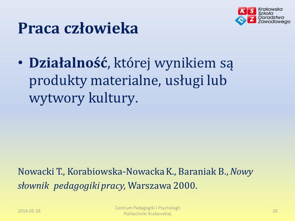 Praca człowieka Działalność, której wynikiem są produkty materialne, usługi lub wytwory kultury.