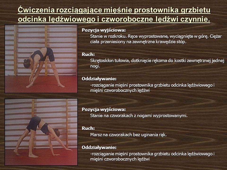 Ćwiczenia rozciągające mięśnie prostownika grzbietu odcinka lędźwiowego i czworoboczne lędźwi czynnie. Pozycja wyjściowa: Stanie w rozkroku. Ręce wypr