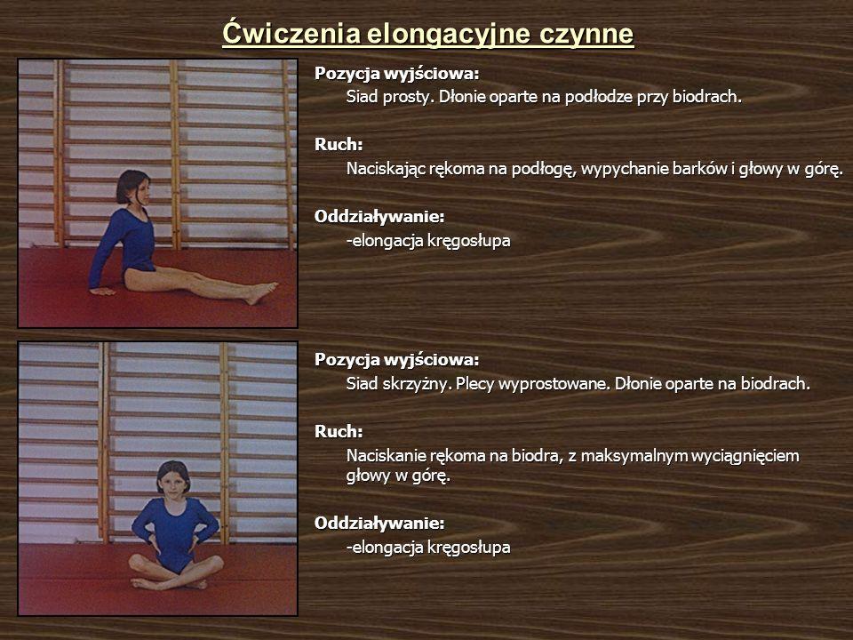 Ćwiczenia elongacyjne czynne Pozycja wyjściowa: Siad prosty. Dłonie oparte na podłodze przy biodrach. Ruch: Naciskając rękoma na podłogę, wypychanie b