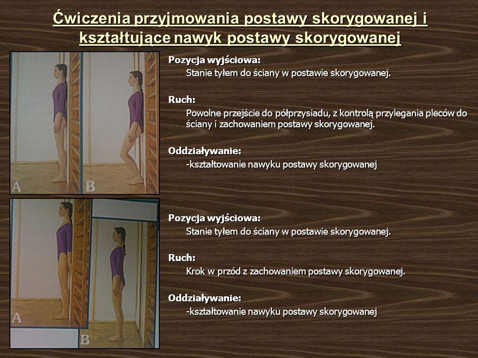 Ćwiczenia przyjmowania postawy skorygowanej i kształtujące nawyk postawy skorygowanej Pozycja wyjściowa: Stanie tyłem do ściany w postawie skorygowanej.