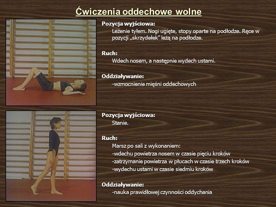 Ćwiczenia oddechowe wolne Pozycja wyjściowa: Leżenie tyłem. Nogi ugięte, stopy oparte na podłodze. Ręce w pozycji skrzydełek leżą na podłodze. Ruch: W