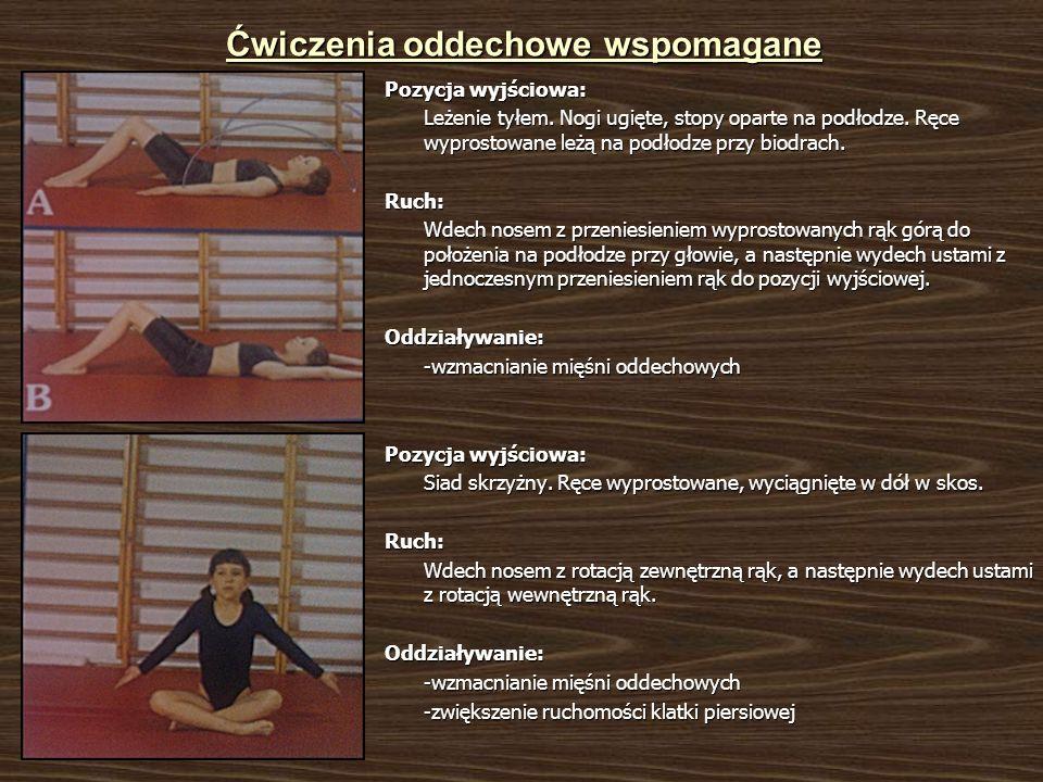 Ćwiczenia oddechowe wspomagane Pozycja wyjściowa: Leżenie tyłem. Nogi ugięte, stopy oparte na podłodze. Ręce wyprostowane leżą na podłodze przy biodra