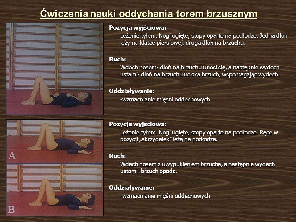 Ćwiczenia nauki oddychania torem brzusznym Pozycja wyjściowa: Leżenie tyłem. Nogi ugięte, stopy oparte na podłodze. Jedna dłoń leży na klatce piersiow