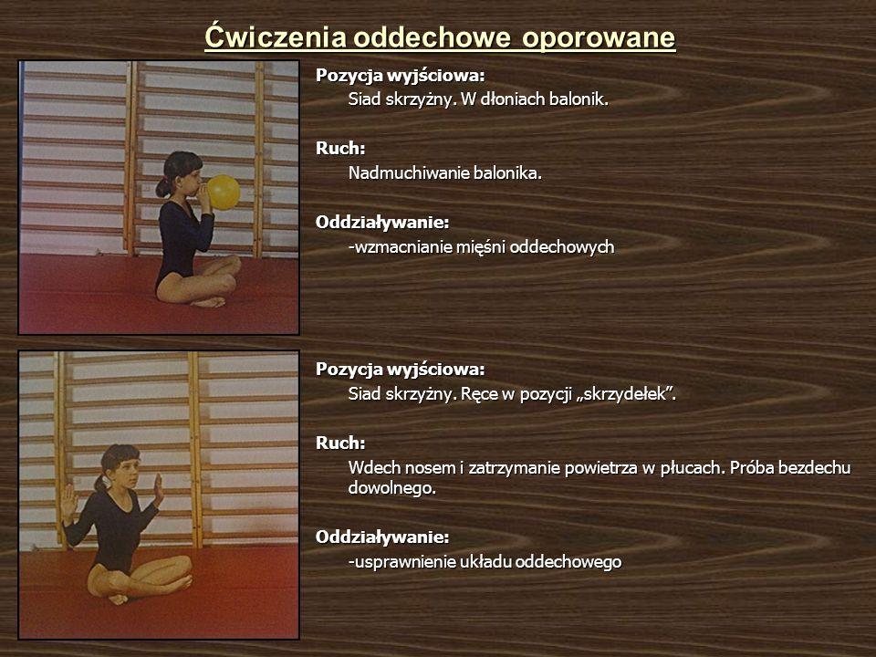 Ćwiczenia oddechowe oporowane Pozycja wyjściowa: Siad skrzyżny.