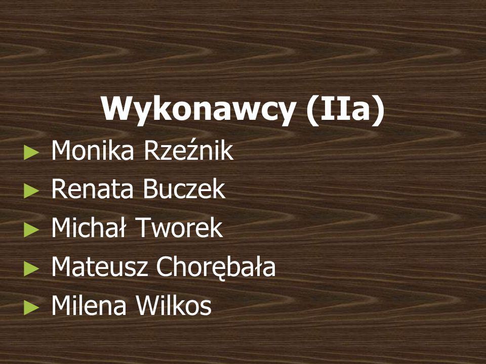 Wykonawcy (IIa) Monika Rzeźnik Renata Buczek Michał Tworek Mateusz Chorębała Milena Wilkos