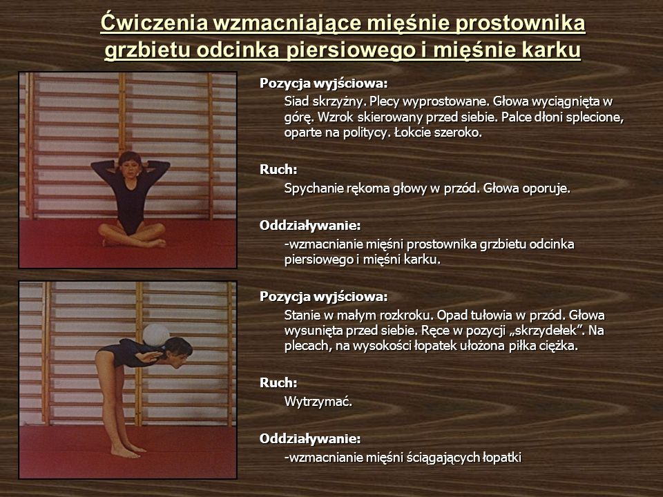 Ćwiczenia wzmacniające mięśnie ściągające łopatki Pozycja wyjściowa: Siad ugięty, rozkroczny.
