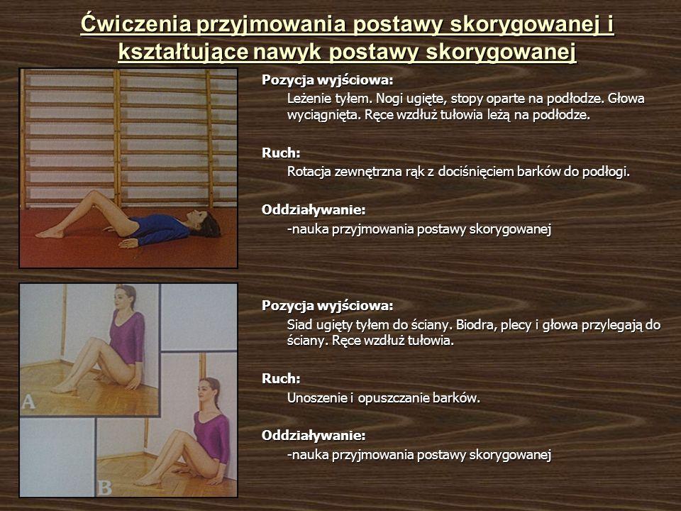 Ćwiczenia przyjmowania postawy skorygowanej i kształtujące nawyk postawy skorygowanej Pozycja wyjściowa: Leżenie tyłem. Nogi ugięte, stopy oparte na p