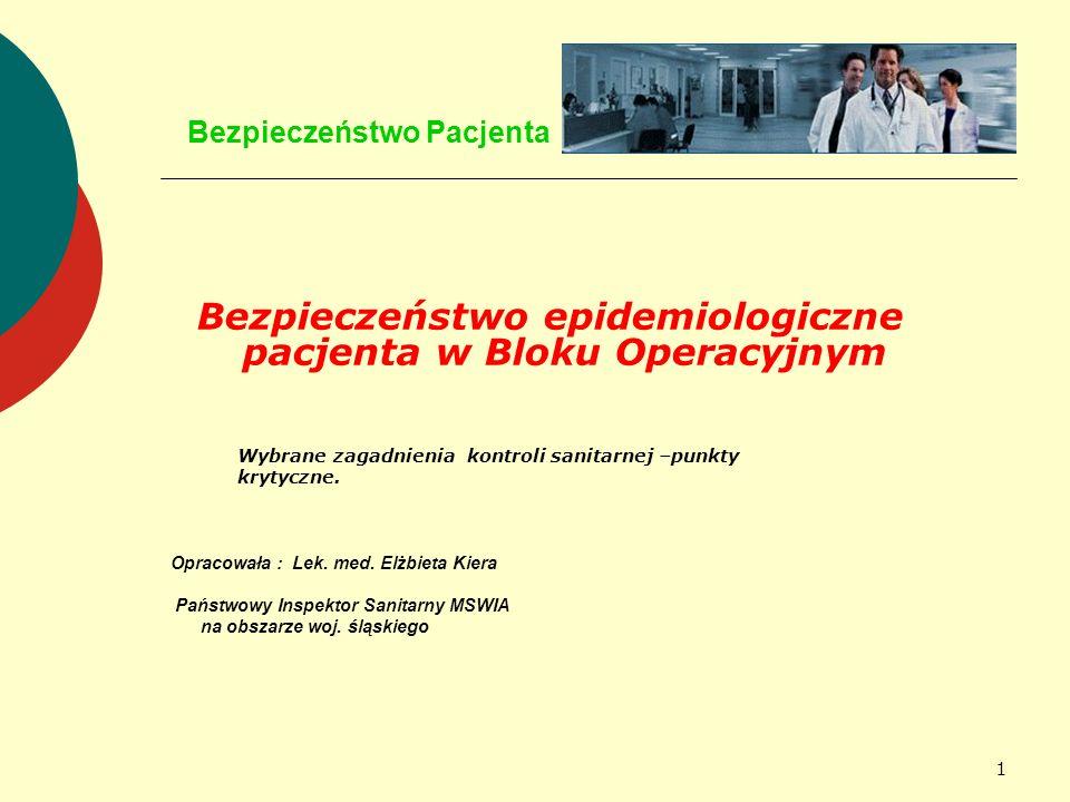 1 Bezpieczeństwo Pacjenta Bezpieczeństwo epidemiologiczne pacjenta w Bloku Operacyjnym Wybrane zagadnienia kontroli sanitarnej –punkty krytyczne. Opra