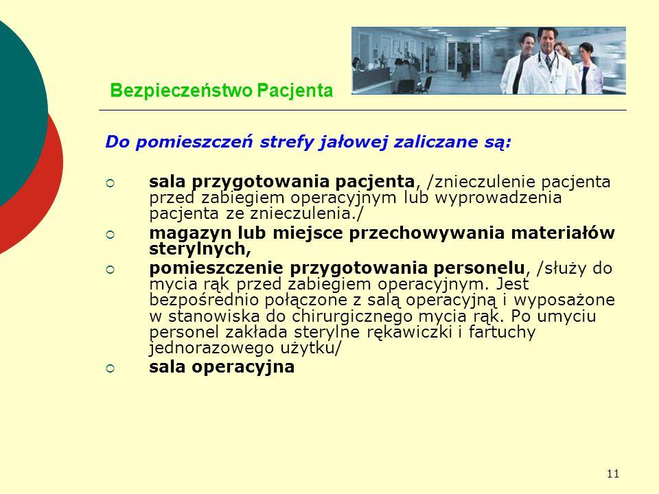 11 Bezpieczeństwo Pacjenta Do pomieszczeń strefy jałowej zaliczane są: sala przygotowania pacjenta, /znieczulenie pacjenta przed zabiegiem operacyjnym