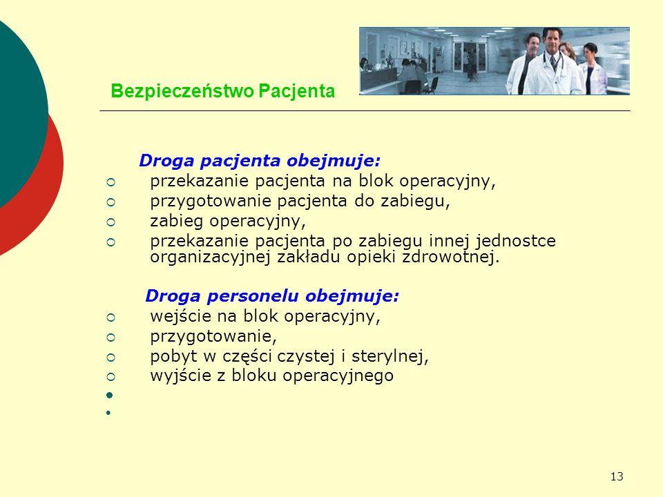 13 Bezpieczeństwo Pacjenta Droga pacjenta obejmuje: przekazanie pacjenta na blok operacyjny, przygotowanie pacjenta do zabiegu, zabieg operacyjny, prz